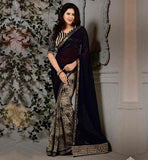 OFFICE-WEAR-SAREES-WITH-ULTIMATE-AND-UNIQUE-BLOUSE-STYLES-OUT-STANDING-BLACK-AND-BEIGE-CHIFFON-SARI-WITH-MATCHING-PURE-DUPION-CHOLI