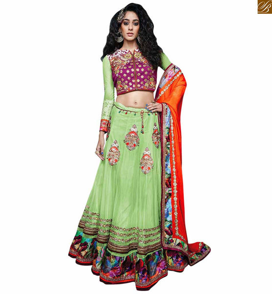 STYLISH BAZAAR PRESENTS ADMIRABLE MIX OF PURPLE AND GREEN IN BLOUSE AND EMBROIDERED GREEN GHAGRA RTSEL802