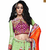 A STYLISH BAZAAR PRESENTATION ADMIRABLE MIX OF PURPLE AND GREEN IN BLOUSE AND EMBROIDERED GREEN GHAGRA RTSEL802