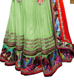 FROM THE HOUSE  OF STYLISH BAZAAR ADMIRABLE MIX OF PURPLE AND GREEN IN BLOUSE AND EMBROIDERED GREEN GHAGRA RTSEL802