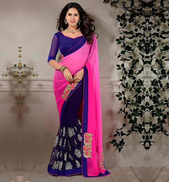 ENGAGEMENT-SAREES-AND-DESIGNER-JACKET-TYPE-BLOUSE-SET--PINK-AND-BLUE-CHIFFON-TRENDY-SARI-WITH-EXCITING-PURE-DUPION-CHOLI