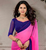 PINK-AND-BLUE-CHIFFON-TRENDY-SARI-WITH-EXCITING-PURE-DUPION-CHOLI-EYE-CATCHING-USE-OF-PRINT-AND-EMBROIDERY-WORK-MAKES-THIS-SARI-LOOK-ATTRACTIVE