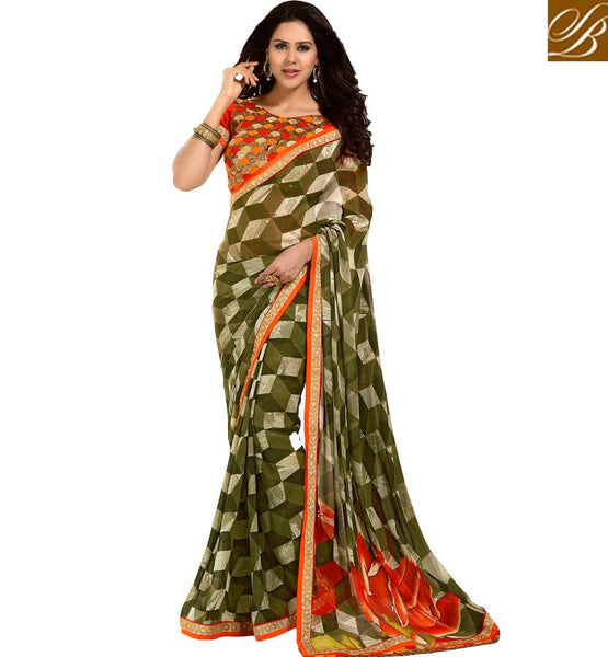 STYLISH-SAREE-DRAPING-PATTERNS-WITH-EMBROIDERED-BLOUSE-DESIGNS-GORGEOUS-GREEN-GEORGETTE-PRINTED-SARI-WITH-CONTRAST-ORANGE-PURE-DUPION-CHOLI