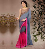 STYLIST-SAREE-TO-DRAPE-WITH-NEW-BLOUSE-DESIGNS-COLLECTION-ONLINE-EXCELLENT-GREY-AND-PINK-WEIGHTLESS-GEORGETTE-SARI-WITH-BEIGE-PURE-DUPION-CHOLI