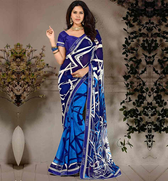 IMAGE OF TRADITIONAL BLOUSE DESIGNS COLLECTION FOR LATEST SAREES  | BEAUTIFUL BLUE WEIGHTLESS GEORGETTE MATERIAL SARI WITH SUPERB PURE DUPION BLOUSE PREMIUM QUALITY
