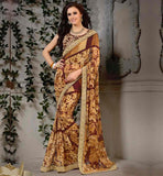 STYLISH-SAREE-DRAPING-AND-NEW-BLOUSE-DESIGNS-COLLECTION-ONLINE-WEIGHTLESS-GEORGETTE-BEIGE-SARI-THAT-COMES-WITH-BROWN-PURE-DUPION-BLOUSE