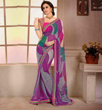 STYLISH-SAREES-COLLECTION-WITH-NEW-BLOUSE-DESIGNS-COLLECTION-GLAMOROUS-GEORGETTE-SARI-WITH-EYE-CATCHING-PURE-DUPION-BLOUSE