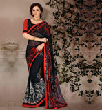 BUY-INDIAN-SAREES-ONLINE-WITH-BEST-DESIGNS-FOR-BLOUSES-COLLECTION-STUNNING-BLACK-WEIGHTLESS-GEORGETTE-SARI-WITH-PURE-DUPION-CHOLI
