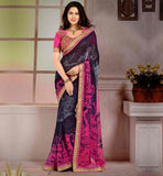 DRAPE-SAREE-DESIGNS-WITH-BEST-PATTERNS-OF--BLOUSES-COLLECTION-FANTASTIC-GREY-AND-PINK-DESIGNER-LOOK-WEIGHTLESS-GEORGETTE-SARI-WITH-PURE-DUPION-CHOLI