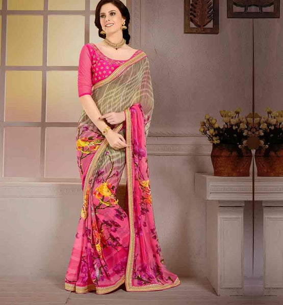 DRAPE-SAREES-DESIGNS-OF-BLOUSES-COLLECTION-ONLINE-INDIAN-SHOP-IRRESISTIBLE-PINK-AND-BEIGE-GEORGETTE-SARI-WITH-WONDERFUL-PURE-DUPION-BLOUSE