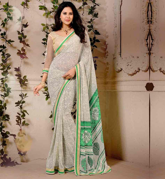 INDIAN-SAREE-DESIGNS-WITH-TRENDY-LOOKING-BLOUSES-COLLECTION-OFF-WHITE-COLOR-WEIGHTLESS-GEORGETTE-MATERIAL-SARI-WITH-SILVER-PURE-DUPION-BLOUSE