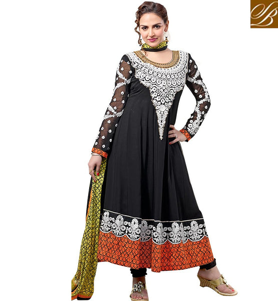BOLLYWOOD SALWAR SUIT ONLINE SHOPPING ESHA DEOL IN BLACK ANARKALI