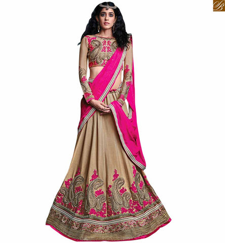 BROUGHT TO YOU BY STYLISH BAZAAR ALURING BEIGE BRIDAL GHAGHRA CHOLI DESIGN RTSEL803