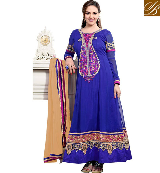 BOLLYWOOD ACTRESS ANARKALI CHURIDAR CLOTHING ESHA DEOL BLUE DRESS