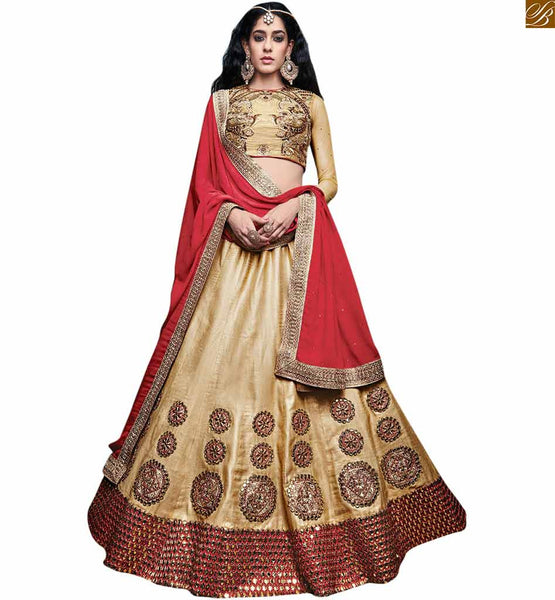 BROUGHT TO YOU BY STYLISH BAZAAR ANGELIC BEIGE LEHENGA CHOLI COMBINED WITH MAROON PALLU RTSEL805