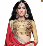 STYLISH BAZAAR PRESENTS ANGELIC BEIGE LEHENGA CHOLI COMBINED WITH MAROON PALLU RTSEL805