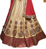 STYLISH BAZAAR INTRODUCES ANGELIC BEIGE LEHENGA CHOLI COMBINED WITH MAROON PALLU RTSEL805