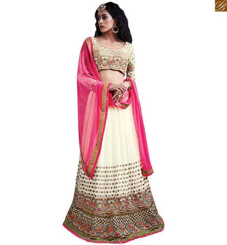 FROM STYLISH BAZAAR APPEALING WHITE EMBORDERED GHAGRA WITH CREAM BLOUSE RTSEL806