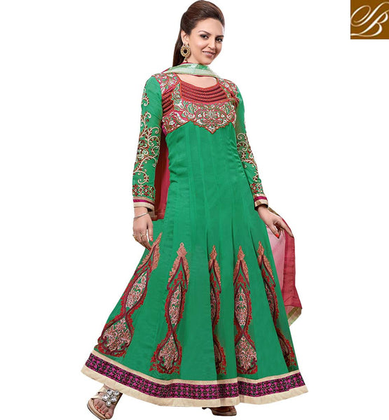 BUY BOLLYWOOD CELEBRITY SUITS ONLINE UK ESHA DEOL IN GREEN ANARKALI DRESS