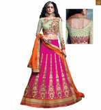 FROM THE HOUSE  OF STYLISH BAZAAR CAPTIVATING PINK AND GREEN LEHENGA BLOUSE RTSEL808