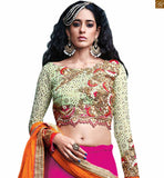 BROUGHT TO YOU BY STYLISH BAZAAR CAPTIVATING PINK AND GREEN LEHENGA BLOUSE RTSEL808