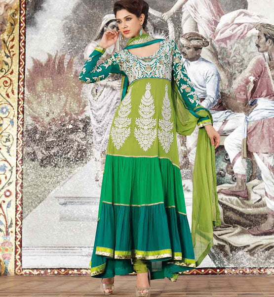 ATTRACTIVE LAYERED GREEN DRESS SALWAR SUIT MATERIAL WITH DUPATTA RTGLA808B