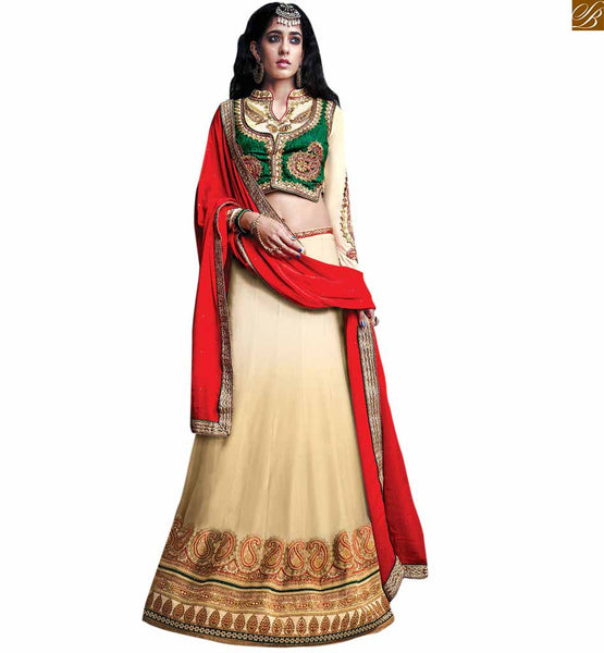 CHARMING CREAM GHAGRA PERFECTED WITH A CREAM AND GREEN CHOLI RTSEL809