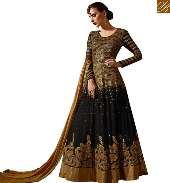 STYLISH BAZAAR RICH LOOKING BLACK & GOLDEN COLORED ANARKALI STYLE SUIT SLSKR8102
