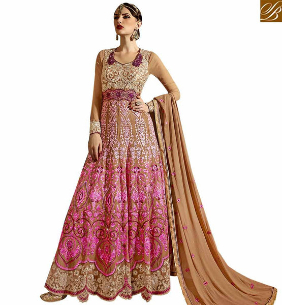 STYLISH BAZAAR BREATHTAKING PINK COLORED ANARKALI STYLE SALWAR KAMEEZ SLSKR8103