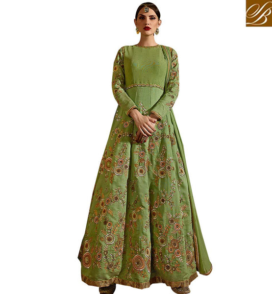 STYLISH BAZAAR BEAUTIFUL DESIGNED GREEN COLORED SUIT WITH ATTRACTIVE EMBROIDERY WORK SLSKR8104