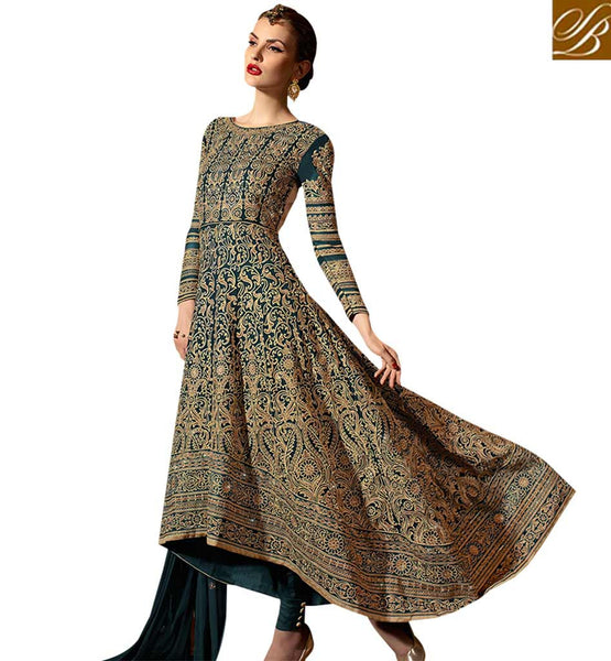 STYLISH BAZAAR GORGEOUS RAMA GREEN COLORED DESIGNER SUIT YOU CAN'T MISS SLSKR8105