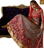 FASCINATING RED COLORED ANARKALI STYLE SUIT WITH GLITTERING EMBROIDERY WORK SLSKR8106