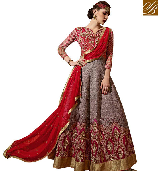 STYLISH BAZAAR FASCINATING RED COLORED ANARKALI STYLE SUIT WITH GLITTERING EMBROIDERY WORK SLSKR8106
