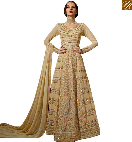 STYLISH BAZAAR ALLURING BEIGE COLORED ANARKALI STYLE SUIT WITH EYE CATCHING WORK SLSKR8107