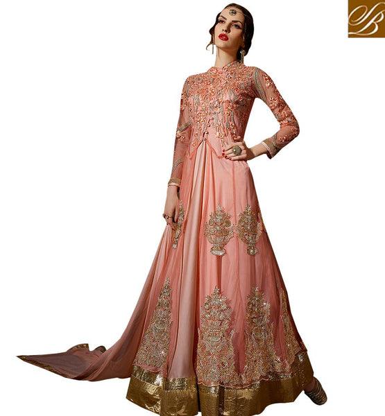STYLISH BAZAAR TEMPTING PEACH COLORED ANARKALI STYLE SALWAR KAMEEZ SLSKR8108