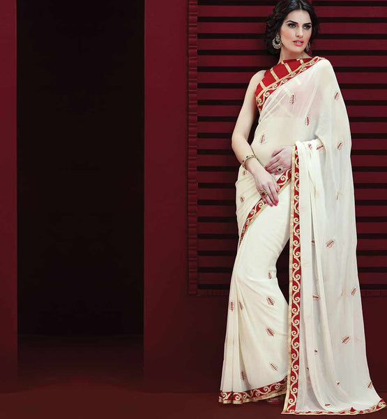 WHITE GEORGETTE CASUAL WEAR SAREE RTAH811