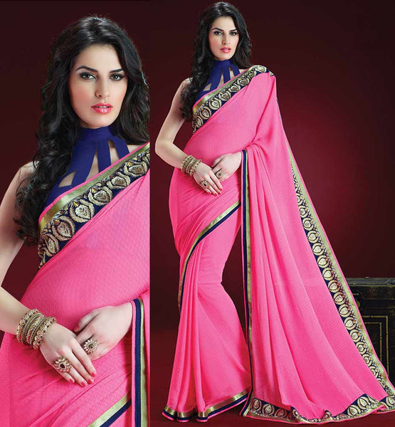PINK GEORGETTE CASUAL WEAR SAREE RTAH813