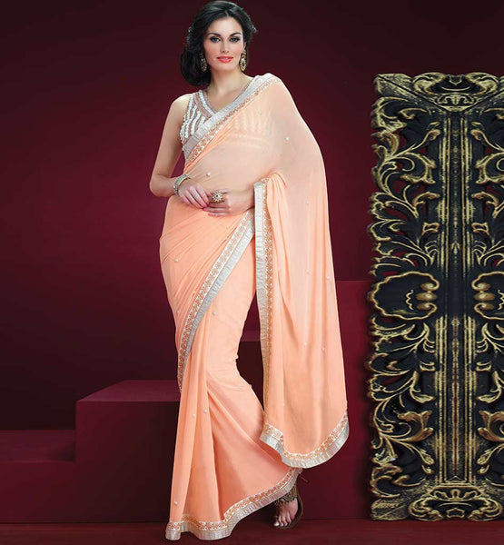 PEACH GEORGETTE CASUAL WEAR SAREE RTAH814
