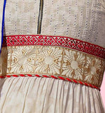 Cotton party wear dress material cream with embroidery