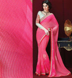 PINK GEORGETTE CASUAL WEAR SAREE RTAH826