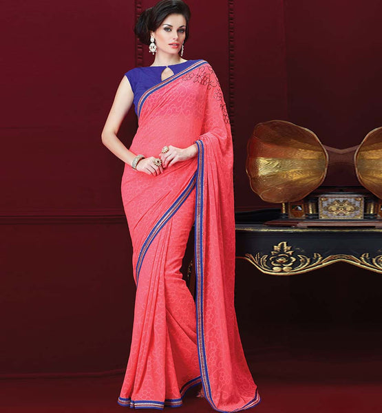 PINK GEORGETTE CASUAL WEAR SAREE RTAH829