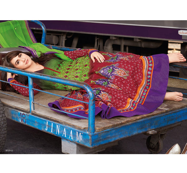 BUY JINAAM KALI LAUREN GOTTLIEB PRINTED LAWN COTTON KALIDAR ANARKALI SALWAR KAMEEZ JNLG8319A - ONLINE SHOPPING FOR ANARKALI DRESS, ONLINE SHOPPING OF ANARKALI SUITS,