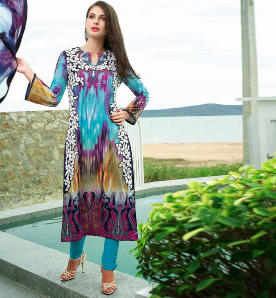 EYE-CATCHING LAWN COTTON SALWAR KAMEEZ WITH BEMBERG CHIFFON DUPATTA JNEM8326A