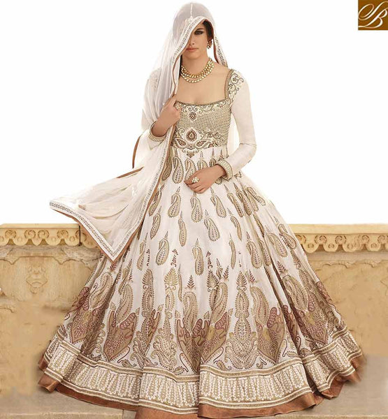 STYLISH BAZAAR WONDERFUL OFF WHITE COTTON SILK EMBROIDERED ANARKALI SALWAR KAMEEZ WITH HEAVY LACE BORDER WORK JNBG8603