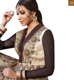 A STYLISH BAZAAR PRESENTATION DELIGHTFUL BEIGE AND BLACK DESIGNER ANARKALI SALWAR KAMEEZ HAVING LACE BORDER WORK JNBG8605