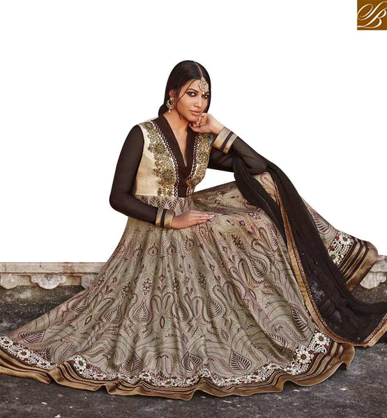 STYLISH BAZAAR DELIGHTFUL BEIGE AND BLACK DESIGNER ANARKALI SALWAR KAMEEZ HAVING LACE BORDER WORK JNBG8605