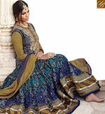 STYLISH BAZAAR EYE CATCHING BLUE AND MUSTARD DESIGNER ANRKALI SALWAR KAMEEZ HAVING EMBROIDERED & PRINTED TOP JNBG8607