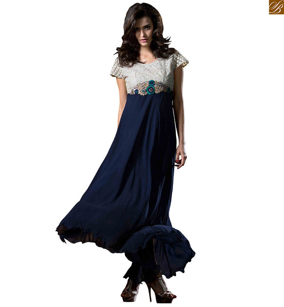 Designer kurtis with different cuts and embroidery designs navy-blue and off-white georgette anarkali style kurti with cap style heavy embroidered sleeves Image