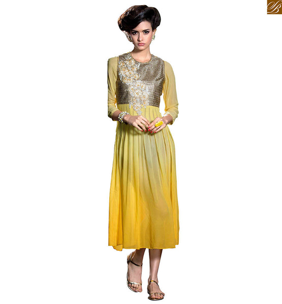 Long kurtis online india ethnic wear for fashionista female yellow georgette heavy floral embroidered designer kurti and three fourth type stylish sleeves Image