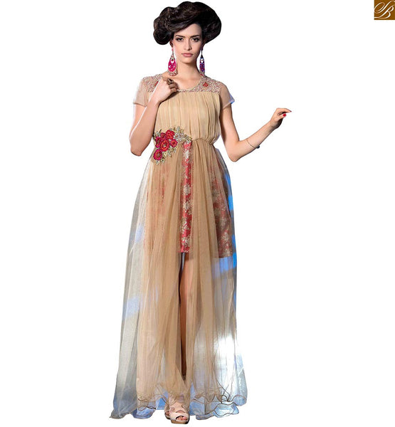 Long kurtis new fashion boat neck designs with embroidery beige georgette and net different cut heavy floral printed designer kurti with embroidery neck line Image